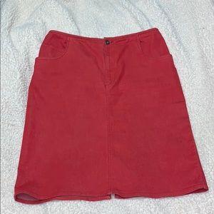 Red Denim Skirt w/ Pockets!